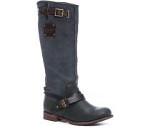 Damen Schuhe Stiefel, Nubuk-Nappa, grau