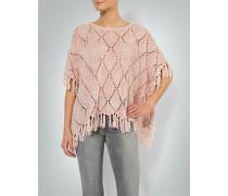 Damen Pullover Poncho mit Fransenabschluss