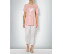 Damen Nachtwäsche Pyjama im Feder-Look