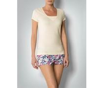 Damen Pyjama-Shirt mit Einsatz im V-Ausschnitt