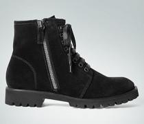 Damen Schuhe Stiefelette aus Veloursleder schwarz