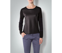 Damen Pullover mit Front in Leder-Optik
