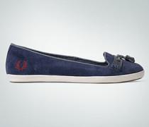 Damen Schuhe Tassel-Slipper aus Veloursleder