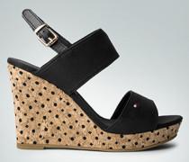 Damen Schuhe Sandalette mit Muster im Keilabsatz