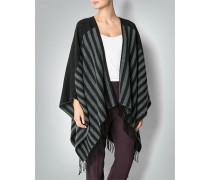 Damen Pullover Poncho im Streifen-Look