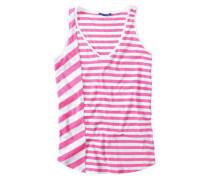 Damen T-Shirt Top Baumwolljersey weiß-pink