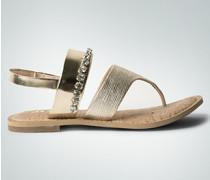 Damen Schuhe Zehensandale mit Strasssteinchen