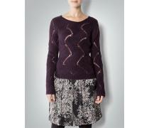 Damen Strick-Pullover mit Lochmuster