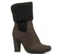 Damen Schuhe Stiefelette Nubuk-Strick dunkel