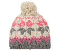 Damen Strickmütze ecru-pink-grau