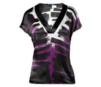 Damen Bluse Seidensatin schwarz-violett-weiß