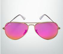 Brille Sonnenbrille Aviator, Metall, gold-pink