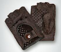 Damen Autohandschuh ohne Finger aus Hirschleder