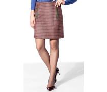 Damen Rock Wollmischung magenta-grau kariert