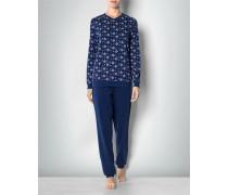 Damen Nachtwäsche Pyjama mit floral gemustertem Oberteil