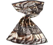 Damen Schal Seide braun-grau-creme