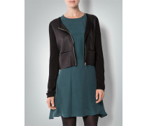 Damen Cardigan mit Front in Leder-Optik