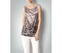 Damen Bluse Top aus Seide mit Animal-Print