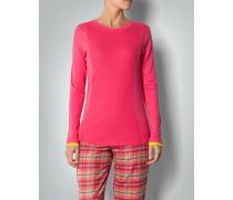 Damen Pyjama-Shirt mit Rippeneinsatz