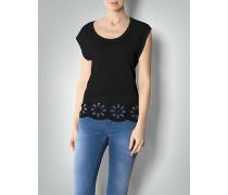 Damen Shirt mit floralem Lochmuster