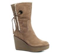 Damen Schuhe Wedges Veloursleder taupe