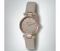 Damen Uhr Uhr in Roségold mit Lederband