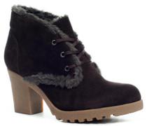Damen Schuhe Ankle Boots Velours gefüttert dunkel