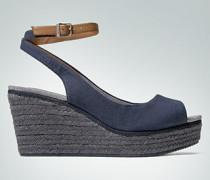 Damen Schuhe Peeptoe-Wedges im Espadrilles-Look