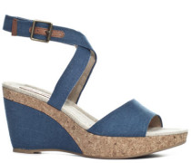 Damen Schuhe Wedges Canvas-Kork peacock