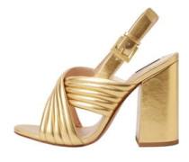 Metallic-Sandale Mit Gekreuztem Riemen