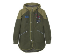 Parka aus baumwoll-nylon-mix mit patches