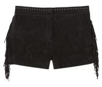 Shorts Aus Rauleder Mit Fransen