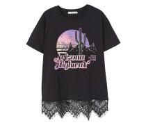Baumwoll-t-shirt mit spitzendetail