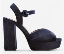 Samt-Sandale Mit Plateausohle