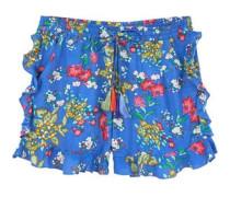 Shorts mit volant-details und blumenprint