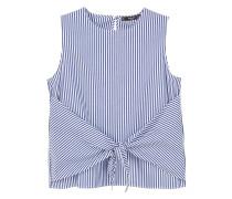 Popeline-bluse mit knoten