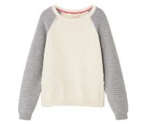 Baumwoll-pullover mit reliefmuster