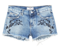 Bestickte jeans-shorts