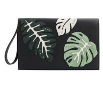 Clutch Mit Umschlagklappe Und Blättermotiv
