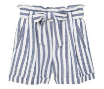 Leinen-shorts mit hohem bund