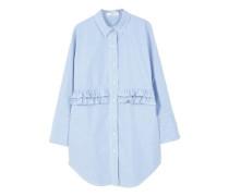 Popeline-bluse mit rüschen