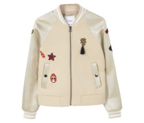 Metallic-Bomberjacke Mit Patches