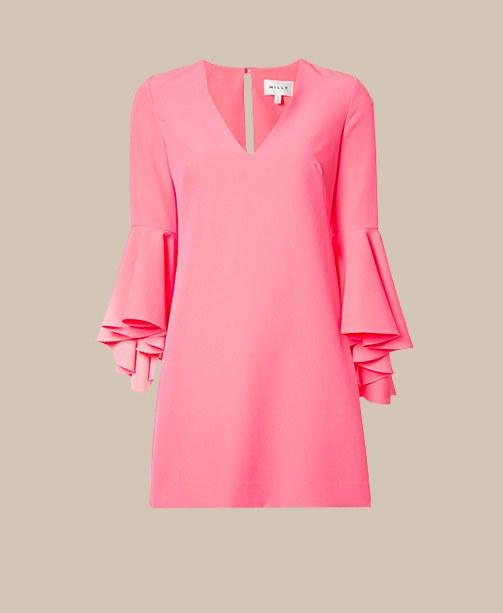 Pinkes Kleid mit Volant Ärmeln