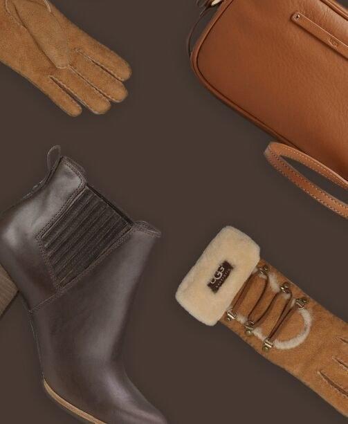 Braune Stiefeletten, Handtasche und Handschuhe von Ugg