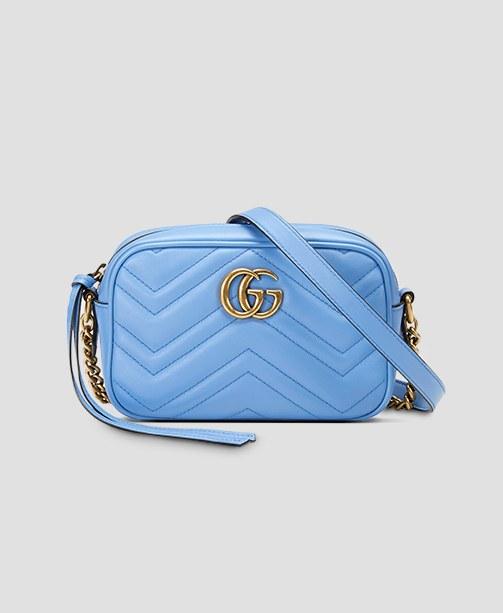 Blaue Gucci Schultertasche