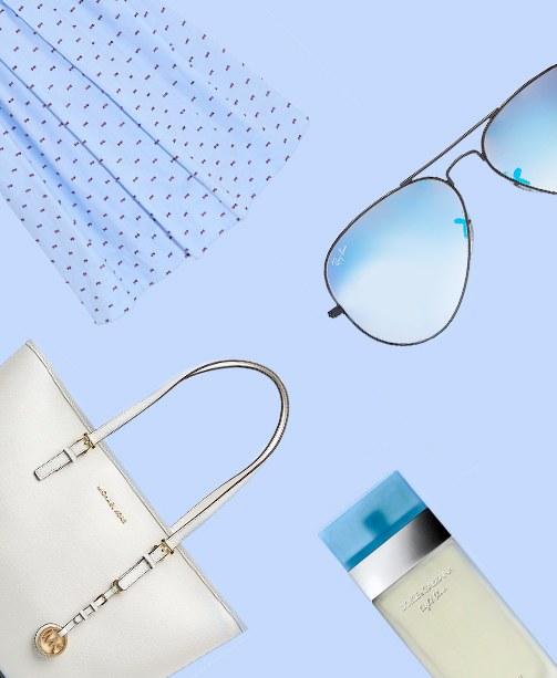Produktkollage aus Michael Kors Tasche, Ray Ban Sonnenbrille, Dolce & Gabbana Parfum und Sommerkleid