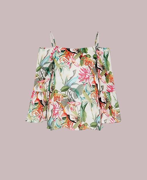 Bluse mit tropical Print Hallhuber